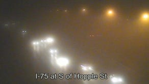 I-75 south of Hopple Street, just after 6 a.m.
