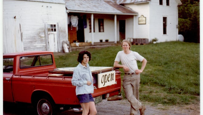 Judi and Fred Danforth at their first workshop in Woodstock in 1975.