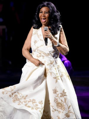 Aretha Franklin performs on opening night of the 2017 Tribeca Film Festival.