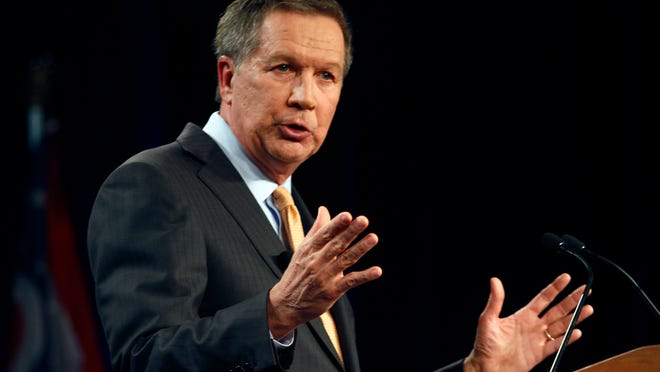 Ohio Gov. John Kasich delivers his State of the State address at the Roberts Centre, in Wilmington, Ohio, last month.
