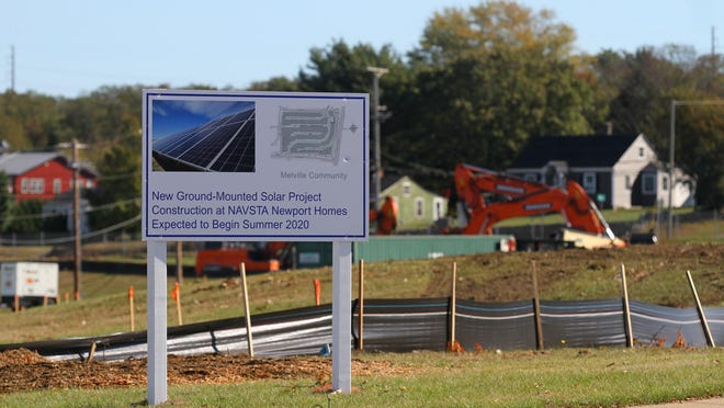 The 3-megawatt solar farm is being constructed at the intersection of West Main Road and Stringham Road in Portsmouth.