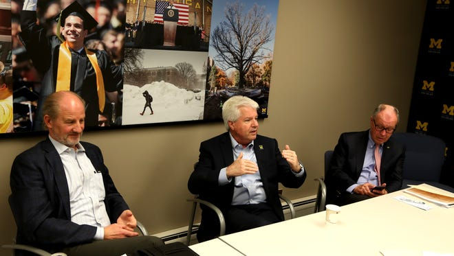 University of Michigan Chief Investment Officer Erik Lundberg, left, Executive Vice President and Chief Financial Officer Kevin Hegarty and Vice President for Development Jerry May talk with the Detroit Free Press about the university endowment program on campus at the university in Ann Arbor, Michigan on Friday, June 9, 2017.