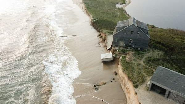 Heavy surf over the past week carved away 50 feet from the edge of the bluff in Cisco, leading to the emergency demolition of a summer home and garage at the end of Hummock Pond Road.