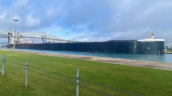 The American Integrity ship passing through the Soo Locks on the morning of Wednesday, Sept 2.