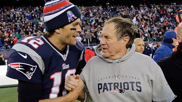 Tom Brady, drafted in the sixth round, and Bill Belichick, a failure with the Browns, lead the Patriots.