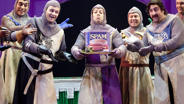 """Monty Python's Spamalot,"" the musical re-telling of ""Monty Python and the Holy Grail,"" runs Friday, April 24, through May 9 at the Booth Tarkington Civic Theatre at the Center for the Performing Arts in Carmel."