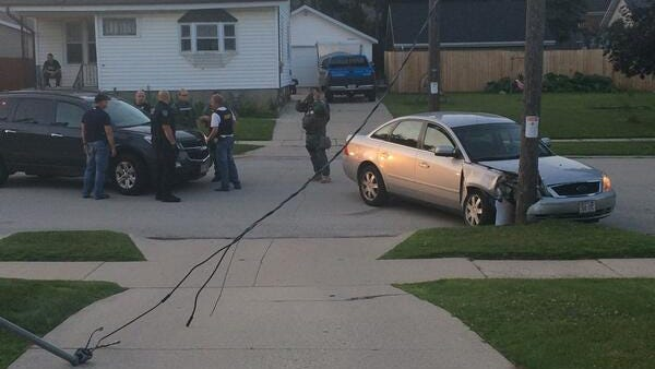 A suspected crystal methampetamine dealer struck a telephone pole in Manitowoc after fleeing authorities Thursday.