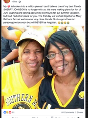 A screenshot of Sherry Johnson, right, with her friend