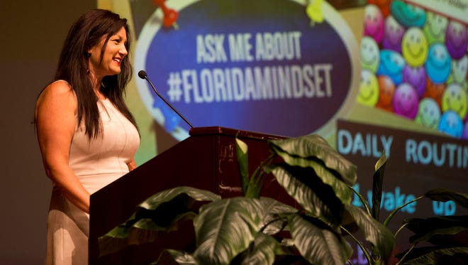 Maryann Kelly, the district winner for Macy's Teacher of the Year, spoke during an event for the Collier County School District administrators on Tuesday August 3, 2016.