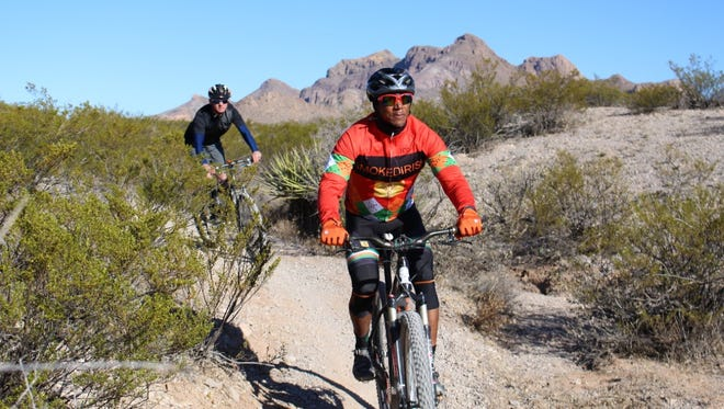 Any day of the week, mountain bikers traverse the many BLM trails on public lands near the Doña Ana Mountains.