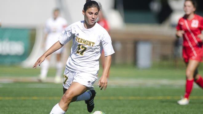Vermont's Nikki McFarland dribbles near the 18-yard box during last season at Virtue Field.
