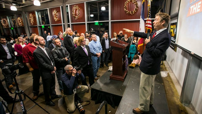 U.S. Sen. Rand Paul, R-Ky., speaks at Jasper Winery during an 'Audit the Fed Rally' sponsored by Liberty Iowa, Friday Feb 6, 2015, in Des Moines, Iowa.