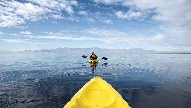 Kayaking on the Salton Sea.