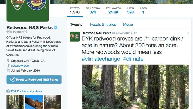 This photo shows a Twitter post from the National Park Service's Redwoods National Park account.
