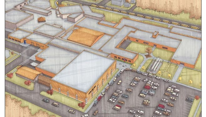Drawing shows plans for a new gymnasium addition (front and center, left of parking lot) at Mosinee High School. Voters can approve or reject funding for the project on the April 4 ballot.