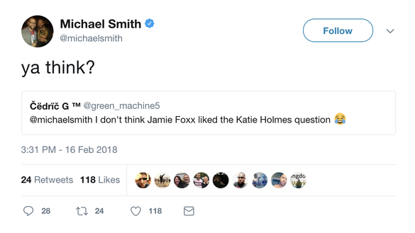 Jamie Foxx walks off SportsCenter after question about playing basketball with Katie Holmes