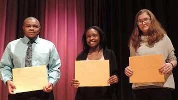 This submitted image shows the 2016 winners of the Maizie Taylor Handy Memorial Scholarship. From left are 2016 Washington High School graduates Glenwood Hayward IV, Jocelyn Elmore and Tara Johnson.