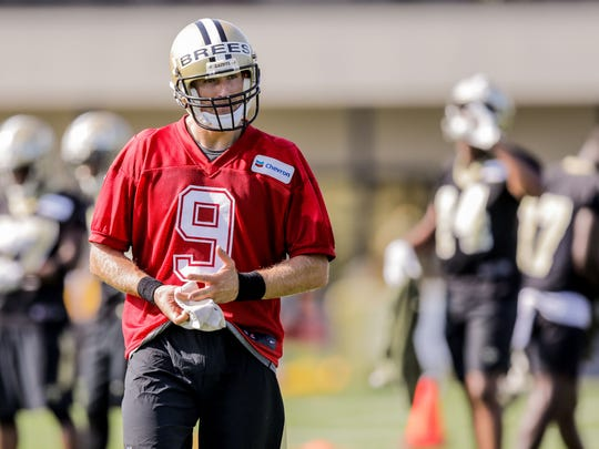 Jul 27, 2017; Metairie, New Orleans, USA;  New Orleans Saints quarterback Drew Brees (9) during training camp at New Orleans Saints Training Facility. Mandatory Credit: Stephen Lew-USA TODAY Sports