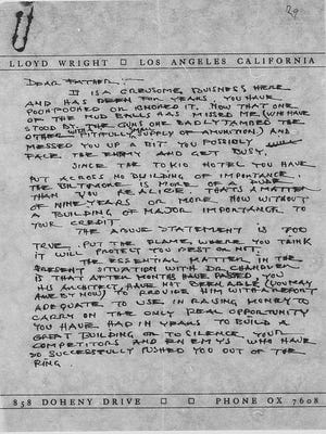 A copy of the letter that Lloyd Wright wrote to his father, Frank Lloyd Wright, regarding the importance of Dr. Chandler's project to their future.