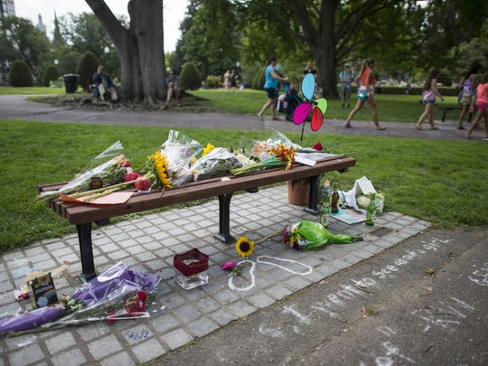 A day after Robin Williams' death on August 11, 2014, fans created a memorial at the  Boston Public Garden bench used in 'Good Will Hunting.'