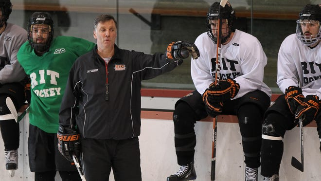 Men's hockey coach Wayne Wilson signed a seven-year contract extension with RIT on Thursday, June 4, 2015. He has coached the Tigers for 16 seasons.