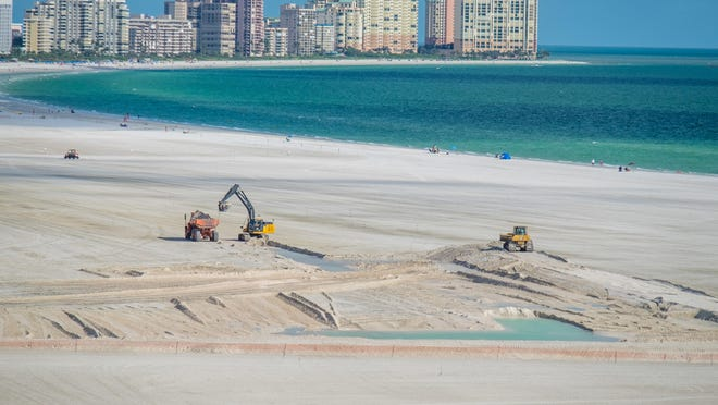 Crews are making preparations for the Hideaway Beach renourishment project. This view is looking south down the beach from the South Seas condo.