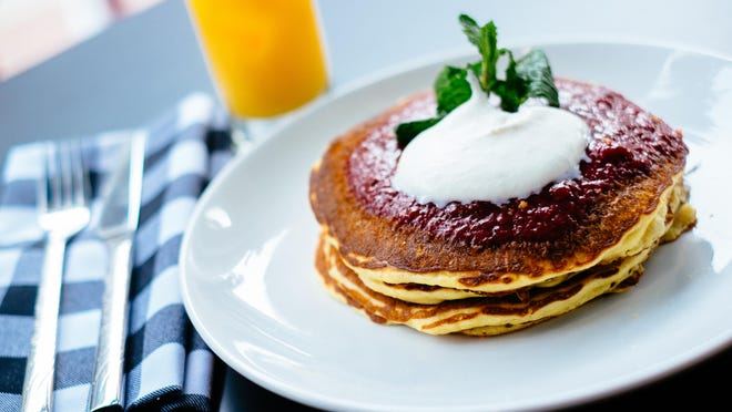 Lemon ricotta pancakes are a specialty at the Candy Apple Cafe.