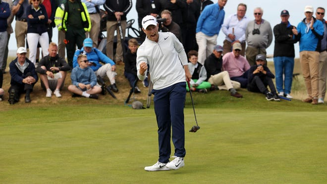 SANDWICH, ENGLAND - JUNE 24: Harry Ellis celebrates after putting on the 38th hole to win The Amateur Championship at Royal St. George on June 24, 2017 in Sandwich, England. (Photo by Harry Hubbard/Getty Images)