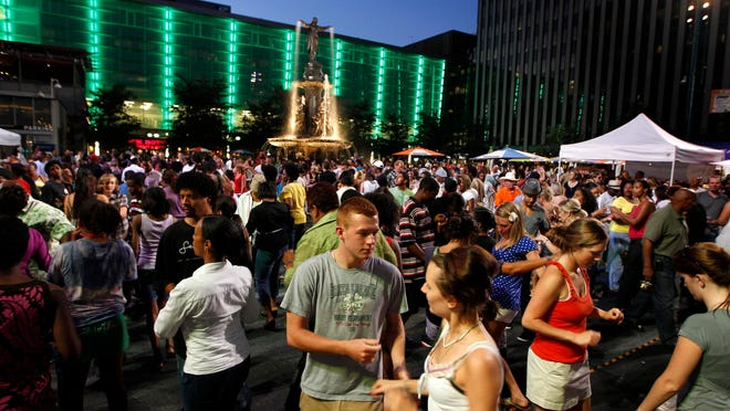 Salsa on the Square can draw hundreds of people to Fountain Square for live entertainment, dancing and Salsa lessons.