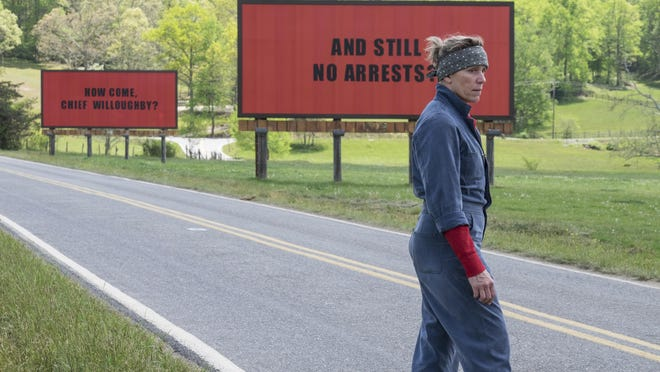 """This image released by shows Frances McDormand in a scene from """"Three Billboards Outside Ebbing, Missouri."""" """"Three Billboards Outside Ebbing, Missouri"""" landed a leading four Screen Actors Guild Awards nominations, including best ensemble."""