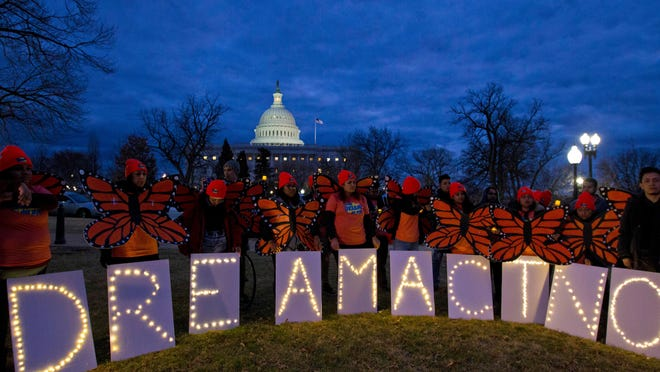 Demonstrators rally in support of Deferred Action for Childhood Arrivals (DACA) outside the Capitol in Washington on Jan. 21.