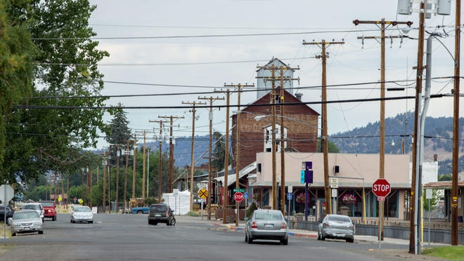 Modoc Farm Supply is seen Tuesday, Aug. 6, 2019, in the background in downtown Alturas, California.