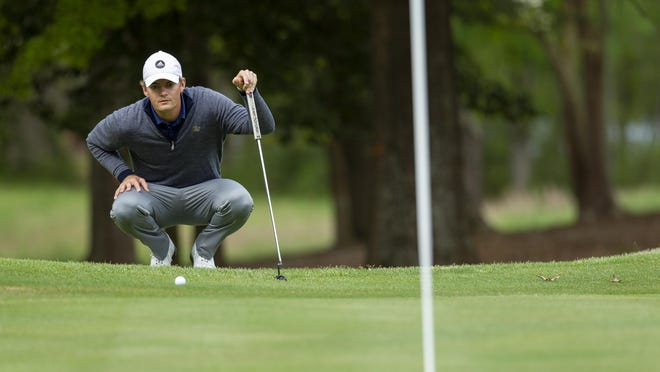 Georgia Tech's Tyler Strafaci lines up his ball during the Atlantic Coast Conference Championship golf tournament April 20, 2019, in New London, NC.