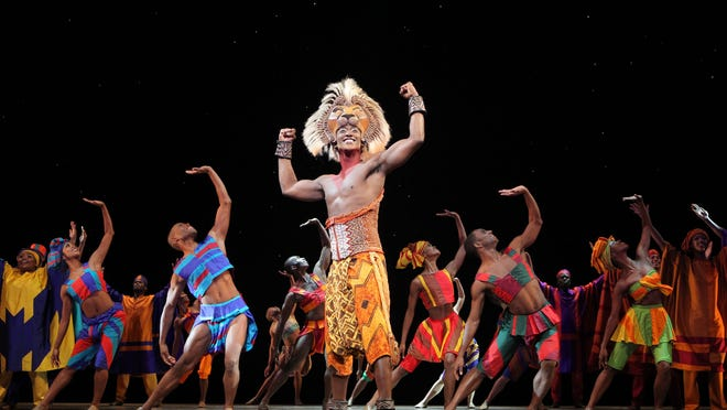 "An elaborate headdress helps create the young lion Simba's costume in ""The Lion King,"" which returns Tuesday to the Des Moines Civic Center."