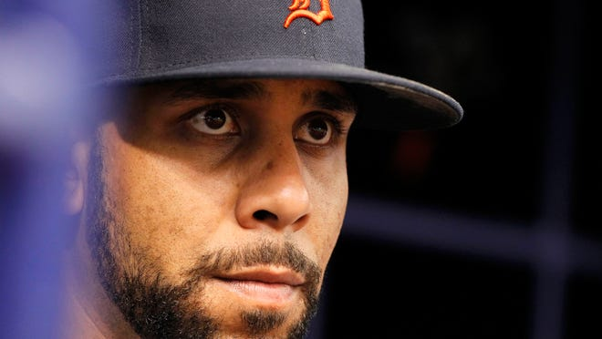 Detroit pitcher David Price (14) looks on during the ninth inning against the Tampa Bay Rays at Tropicana Field.