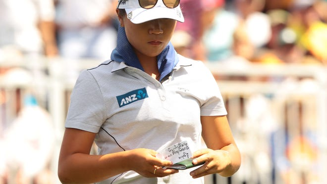 New Zealand's Lydia Ko one one during the 2nd round of the ANA Inspiration at Mission Hills Country Club in Rancho Mirage on Friday.