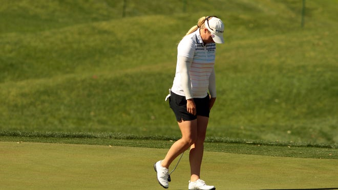 Brittany Lincicome hangs her head after a missed putt on the 17th hole during the second round of the ANA Inspiration at Mission Hills Country Club in Rancho Mirage on Friday.