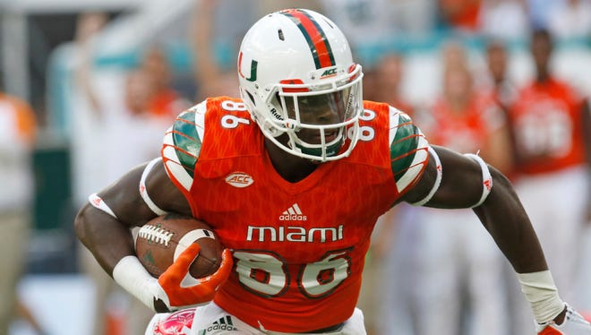 University of Miami tight end and Cedar Grove native David Njoku is projected as a first-round pick in next month's NFL Draft.