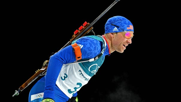 Lowell Bailey competes in the men's biathlon...
