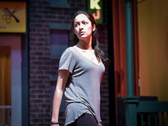 "Elizabeth Ritacco as Nina performs a scene. ""In The Heights"" The play rehearsal was held at the Axelrod Performing Arts Center in Ocean, NJ, on Tuesday, February 28, 2017. /Russ DeSantis for the Asbury Park Press / Slug:ASB 0305 In The Heights"