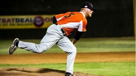 Amherst graduate Zak Wallner made his professional baseball debut for the High Desert Yardbirds against Bakersfield (Calif.) in the Pecos Independent League on July 26.
