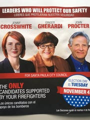 The political action committee representing Santa Paula firefighters supported all five sitting City Council members.