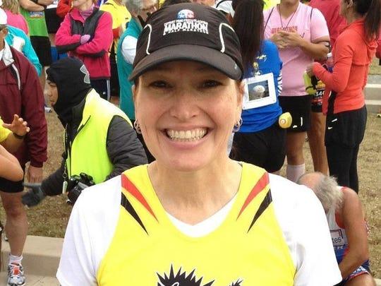 Route 66 Marathon in Tulsa, Okla. (Note: Wearing Detroit marathon hat!)