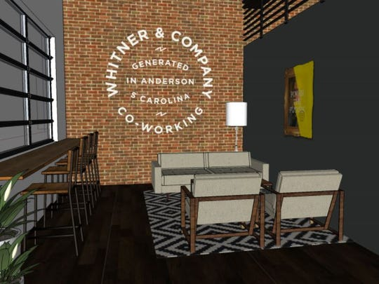 An artist's rendering illustrates what some of the interior of the Whitner & Company Co-Work Space will look like when it opens in October.