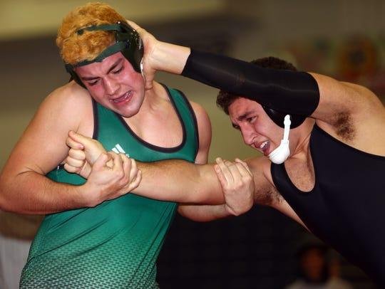 Hanover Park sophomore Gianluca Birnbaum, r,  wrestles