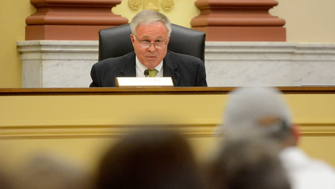 FILE PHOTO - York County Commissioner Doug Hoke considers the sale of the county-owned Pleasant Acres Nursing Home during a public meeting, Wednesday, May 2, 2018. John A. Pavoncello photo