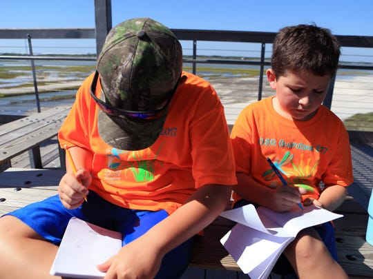 Ryan Pfeffer, 8 (left), and James Shelton, 8, record birds in their nature journals during the O.S.O. Guardians Camp at the Oso Bay Wetlands Preserve and Learning Center on Wednesday, June 21, 2017. The theme for this week's camp is I Spy Wildlife. Campers gain an understanding of the environment and wildlife found in the Coastal Bend.
