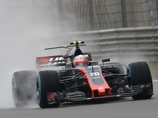 Haas F1 Team driver Kevin Magnussen of Denmark steers his car during the first practice session for the Chinese Formula One Grand Prix at the Shanghai International Circuit in Shanghai, China, Friday, April 7, 2017. (AP Photo/Andy Wong)