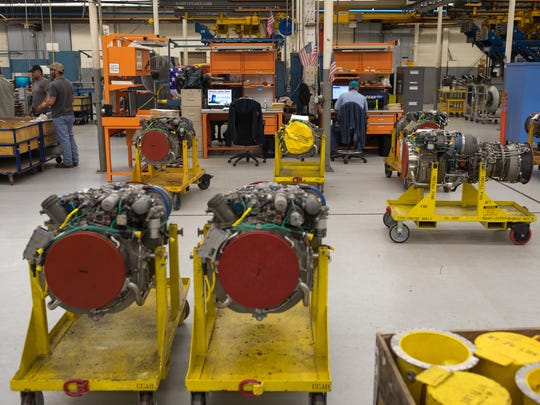 Employees refurbished engines at Corpus Christi Army Depot on Wednesday, June 14, 2017.