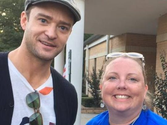 Justin Timberlake posed with Germantown resident Mindy Fischer when he came to the city to vote early in 2016.